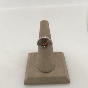 Jewelry - 14K White Gold Smokey Topaz & Diamond Ring
